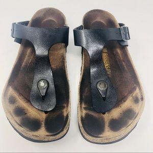 Birkenstock Gizeh Sandals 38 US 8 Black Thongs